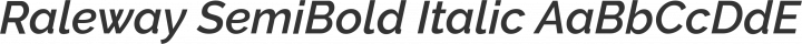 Raleway SemiBold Italic free font