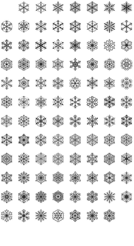 Faux Snow Dingbat Font Specimen