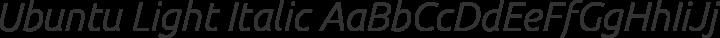 Ubuntu Light Italic free font