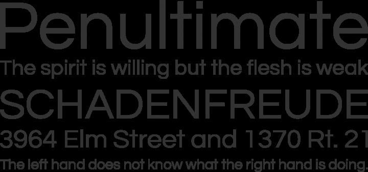 Questrial Font Phrases