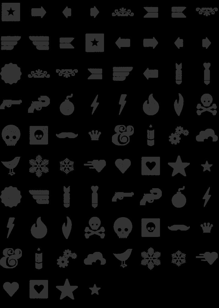 Veneer Dingbat Font Specimen