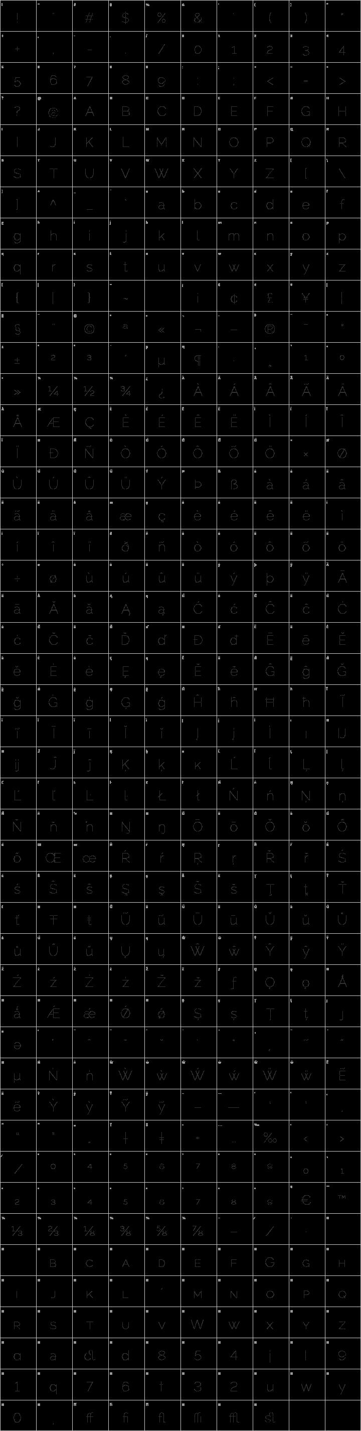 Raleway Dots  Glyph Map