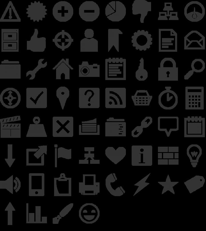 Heydings Common Icons Dingbat Font Specimen