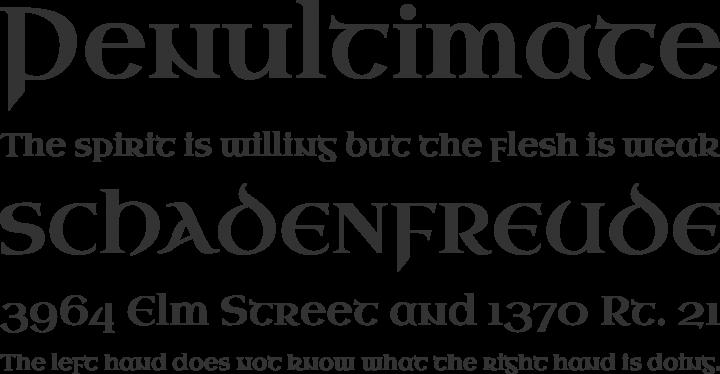 Uncial Antiqua Font Phrases