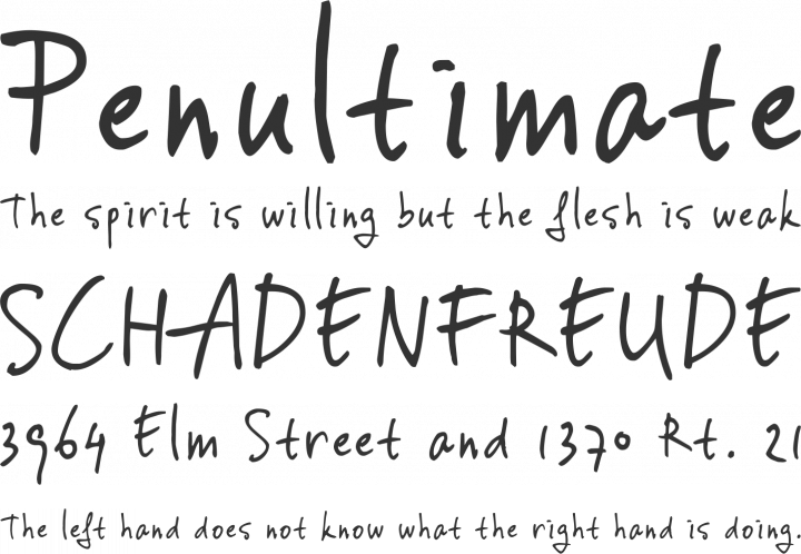 vincHand Font Phrases