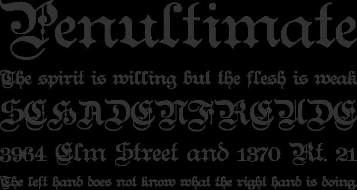 Teutonic No1 Font Phrases