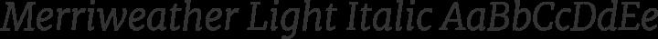 Merriweather Light Italic free font