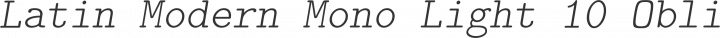 Latin Modern Mono Light 10 Oblique free font