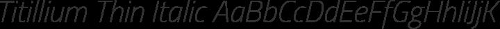 Titillium Thin Italic free font