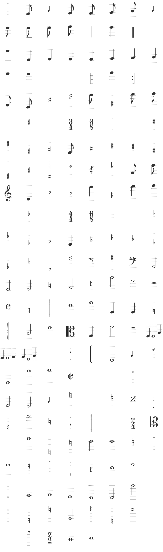 TypeMyMusic Dingbat Font Specimen